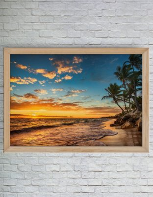 QUADRO DECORATIVO NATUREZA MAR POR DO SOL