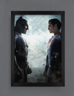 QUADRO DECORATIVO HERÓIS BATMAN x SUPER MAN