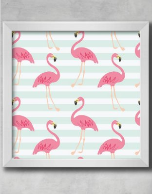 QUADRO DECORATIVO INFANTIL FLAMINGOS LISTRAS