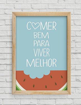 """QUADRO DECORATIVO FRASES """"COMER BEM PARA VIVER MELHOR"""" 2"""