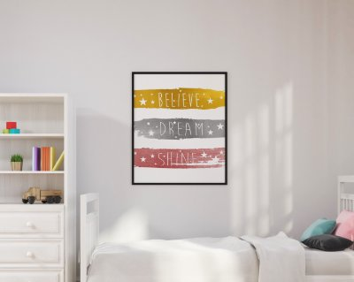 QUADRO DECORATIVO INFANTIL  ''BELIVE, DREAM, SHINE""