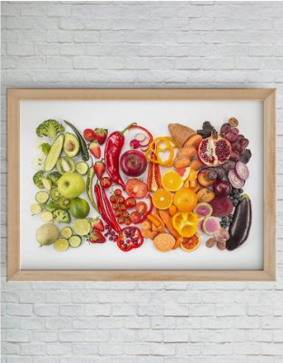 Quadro Decorativo Misto de Legumes Degradê