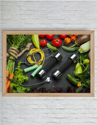 Quadro Decorativo Alimento Saudável e Exercício