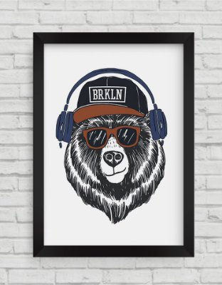 QUADRO DECORATIVO  COOL BEAR ILLUSTRATION