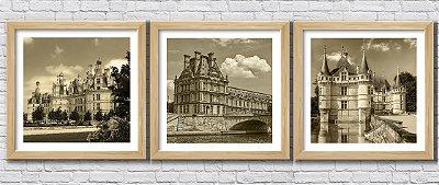 Kit 3 Quadros Decorativos Castelos Franceses Sépia