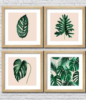 Kit 4 Quadros Decorativos Folhas Tropicais