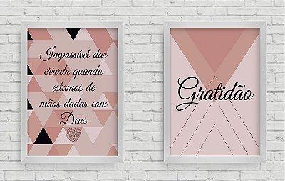 Kit 2 Quadros Frase Impossível dar errado quando estamos de mãos dadas com Deus e Gratidão