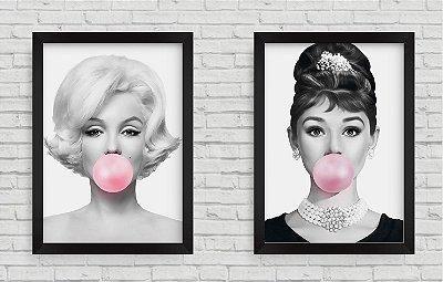 Kit 2 Quadros Marilyn Monroe e Audrey Hepburn Bola de Chiclete