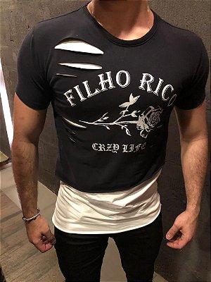 Camiseta Filho Rico Gola O - Corte Assimétrico