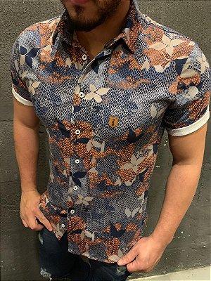 Camiseta Filho Rico Gola Polo Com Botão - Floral
