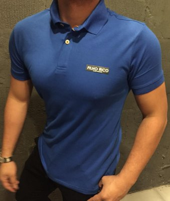 Camiseta Filho Rico Gola Polo - AZUL