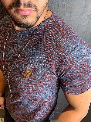 Camiseta Texture Filho Rico Floral - Azul/Vinho