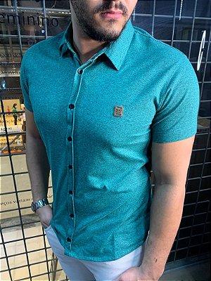 Camisa Melange de botão - Verde Claro
