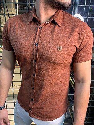 Camisa Melange de botão - Terracota