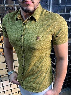 Camisa Melange de botão - Amarelo