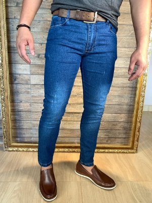Calça Jeans Corte Italiano Filho Rico Skinny - Blue Puído
