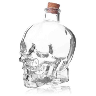 Garrafa De Vidro Em Formato De Caveira 750ml Whisky Vodka