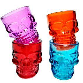 Kit 4 Copos Dose Caveira Shot Vodka Tequila Colorido