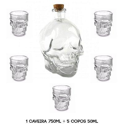 Garrafa Caveira 750ml + 5 Copos Caveira 50ml Whisky Tequila