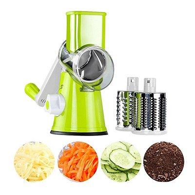 Ralador Fatiador Multiuso 3 em 1 Manivela Verduras Legumes Queijo Verde