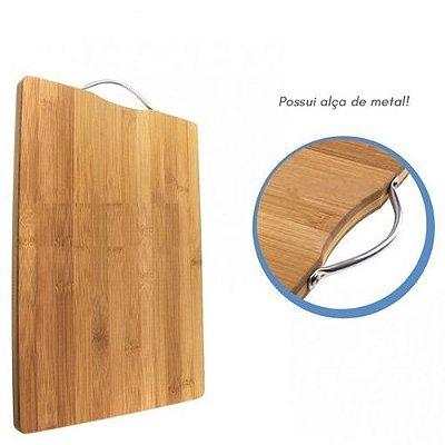 Tábua De Carne Com Alça Bambu Sustentável Corte Churrasco