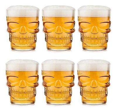 Copo Caveira 310ml Crânio Conjunto 6 Peças Cerveja Whisky