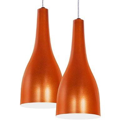 Luminária Dupla Alumínio Pendente Modelo Garrafa Design Moderno Com Cabo e Canopla de Teto