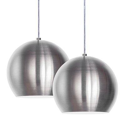 Luminária Dupla Alumínio Pendente Modelo Meia Bola Design Moderno Com Cabo e Canopla de Teto