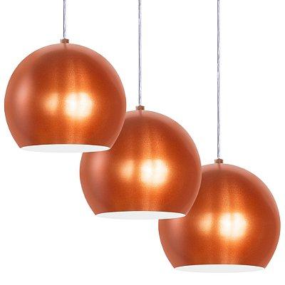 Luminária Trio Alumínio Pendente Modelo Meia Bola Design Moderno Com Cabo e Canopla de Teto