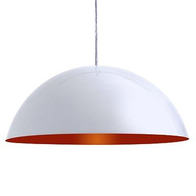 Luminária Alumínio Pendente Modelo Meia Lua 30cm Design Moderno Com Cabo e Canopla de Teto - 01 Unidade