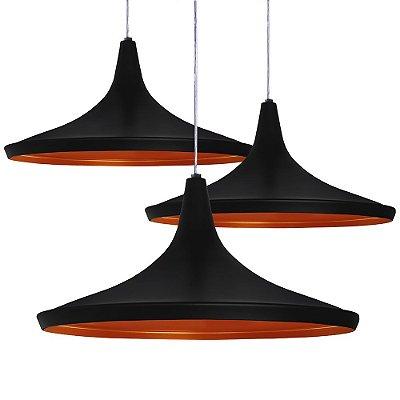 Luminária Trio Alumínio Pendente Modelo Chapéu Chinês Design Moderno Com Cabo e Canopla de Teto