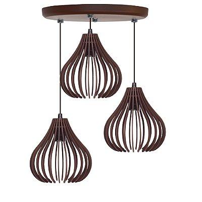 Luminária Trio Pendente Madeira Mdf Modelo Rubi Design Moderno Com Cabo e Canopla de Teto