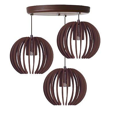 Luminária Trio Pendente Madeira Mdf Modelo Garnet Design Moderno Com Cabo e Canopla de Teto