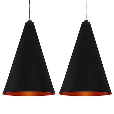 Luminária Dupla Alumínio Modelo Cone Design Moderno Com Cabo e Canopla Redonda de Teto