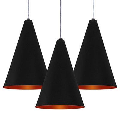 Luminária Trio Alumínio Modelo Cone Design Moderno Com Cabo e Canopla Redonda de Teto