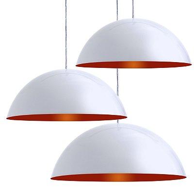 Luminária Pendente Trio Alumínio Modelo Meia Lua 40cm Com Cabo e Canopla Redonda 12cm
