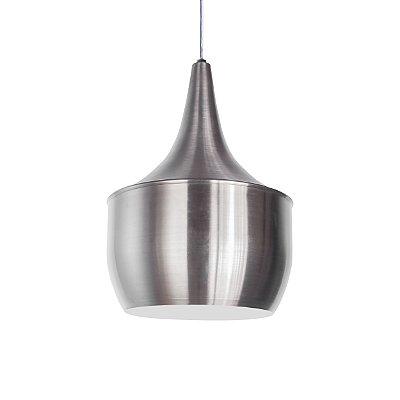 Luminária Pendente Alumínio Modelo Pera Design Moderno Com Cabo e Canopla Redonda - 01 Unidade