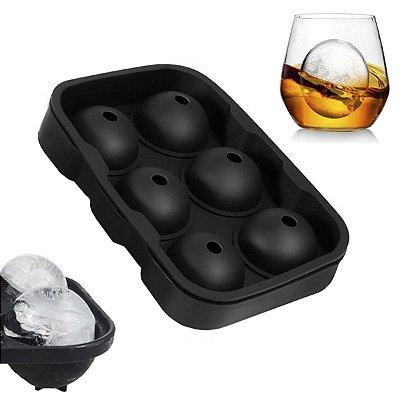 Forma De Gelo De Silicone Bola Esfera Bar Whisky 6 Esferas