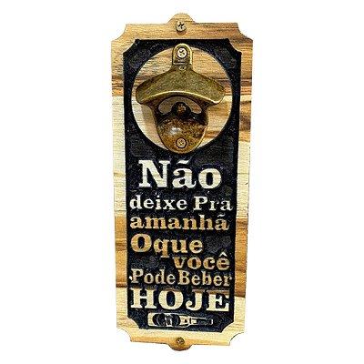 Abridor De Garrafa De Parede Em Madeira Artesanal Entalhada Modelos