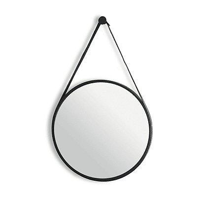 Espelho Adnet Redondo Com Alça de Couro Decorativo Moldura 33cm