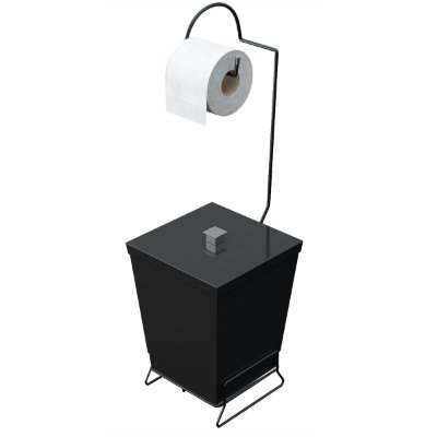 Lixeira Para Banheiro Com Porta Papel Higiênico Linha Black Premium