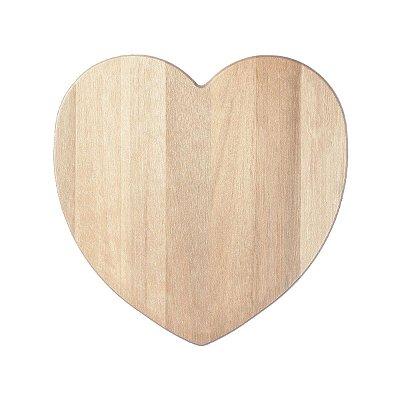 Tábua de Coração Para Corte Café Decoração 30x30cm Madeira Eucalipto