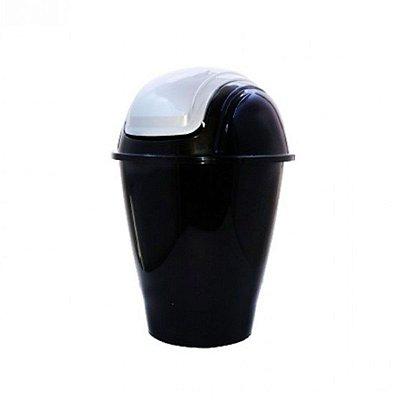 Lixeira Para Banheiro Cozinha com Tampa Basculante Preta 5,5 Litros