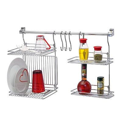 Suporte Prateleira Dupla + Escorredor duplo + 3 ganchos para Utensílios + Kit Instalação - Aço Cromado
