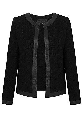 Casaco Chanel - Tricot com detalhes em couro