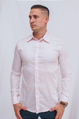 Camisa Slim Botão Embutido Manga Longa Rosa