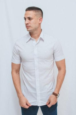Camisa Slim Manga Curta Branca/