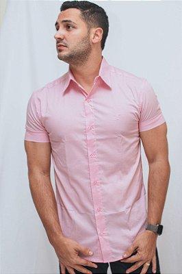 Camisa Slim Manga Curta Rosa