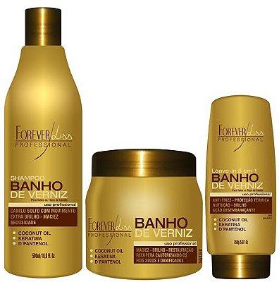 Kit Banho de Verniz (Shampoo + Máscara 250g + Leave-in) - Forever Liss