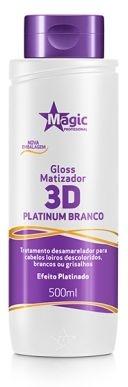 Gloss Matizador 3D Platinum Branco Efeito Platinado 500ml - Magic Professional
